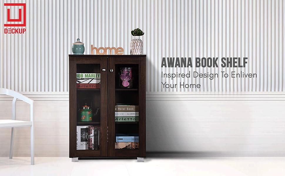 DeckUp Awana Book Shelf/Display and Storage Unit (Walnut, Matte Finish SPN-FOR1