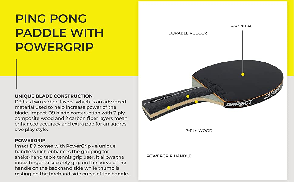 d9 powergrip ping pong paddle table tennis