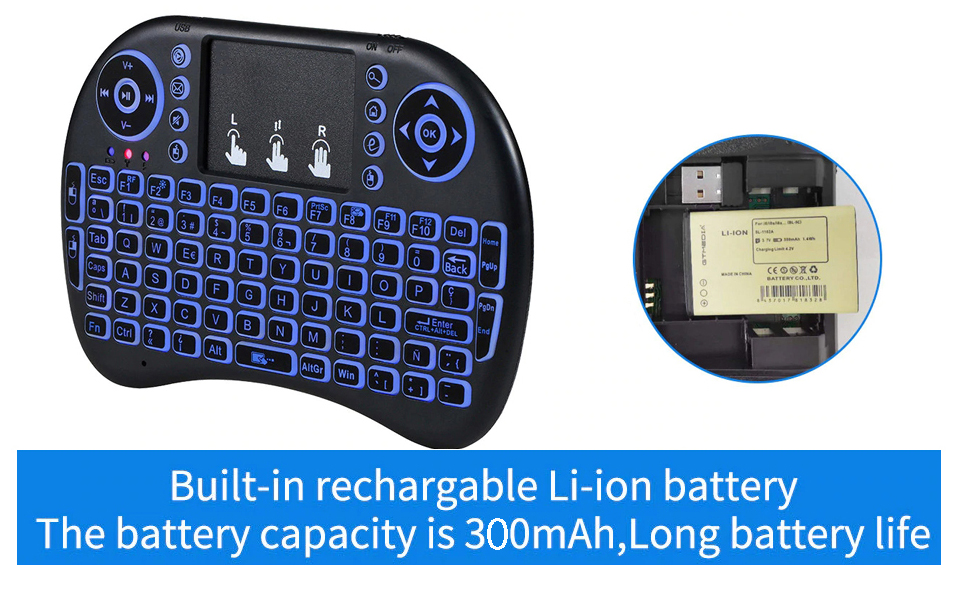 mini wireless keyboard with rechargeable battery