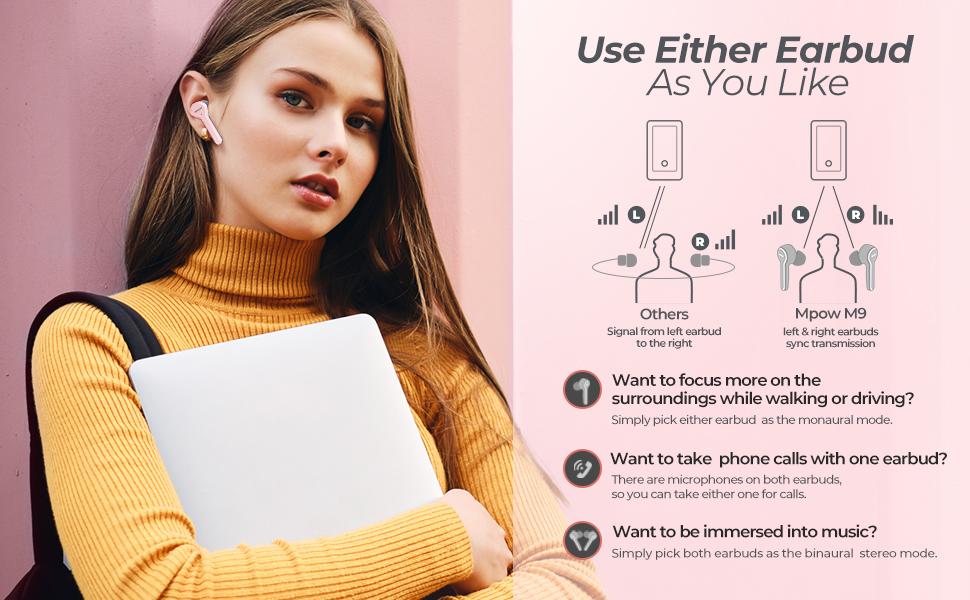 pink wireless bluetooth earbuds earphones for women girl running sport mini airpods