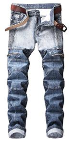 LONGBIDA Men's Skinny Slim Fit Straight Leg Biker Moto Jeans Pants