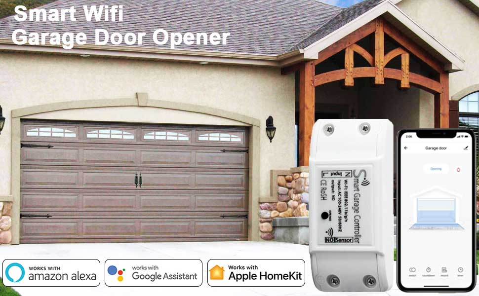 Smart Wifi Garage Door Opener Remote Controller Smartphone App Control Compatible With Alexa Google Assistant And Ifttt No Hub Required Amazon Com