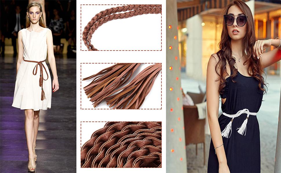Womens Ladies Fashion Weaved Fringed Thin Skinny Belt Slim Waist Band Braid