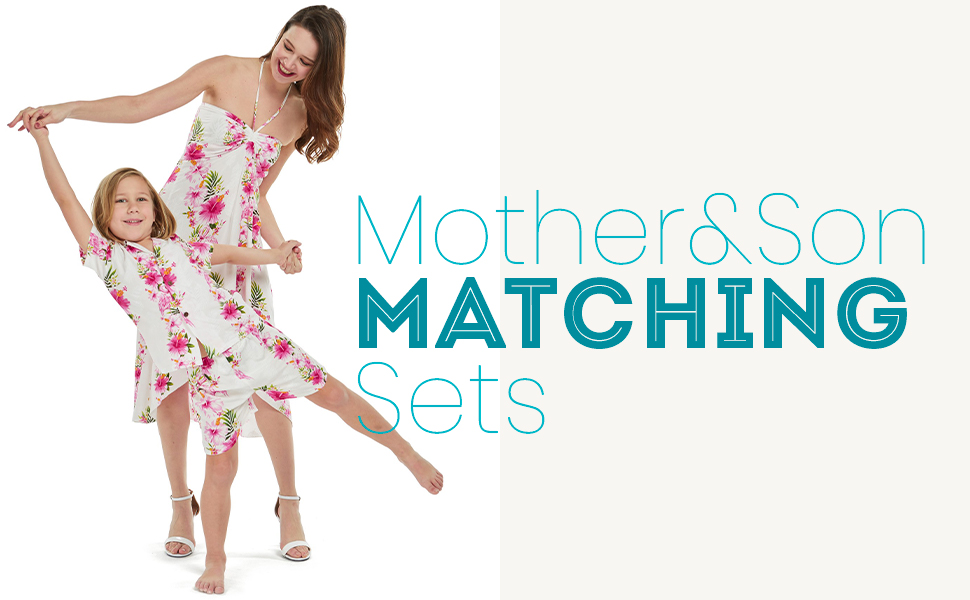 Hawaii Hangover Mother Son Matching Sets Hawaiian Style Butterfly Dress Cabana Set Matching Patterns