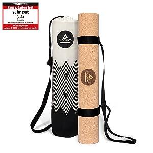 Yogamat kurk en rubber matdikte 3 mm inclusief Yogatas van linnen.