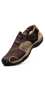 VastStarrySky-sandal Men Outdoor Comfortable Hiking Shoes Beach Casual Flat Sport Male Leather Shoes,Black Red,44