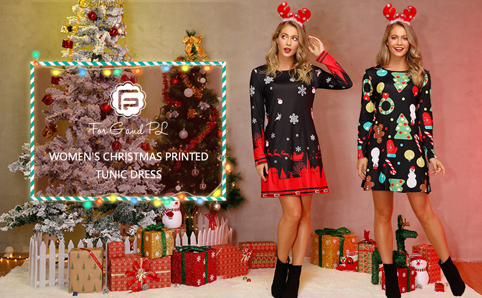 Womens Novelty Dress Christmas Holiday Print Long Sleeved Simply Be