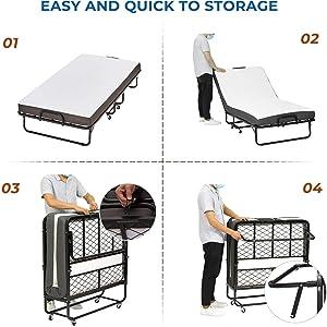 DICTAC Cama plegable 90 x 200 cm Cama de invitados con colchón de espuma viscoelástica de 13 cm de Espesor, fáciles de montar y transportar,Estable ...