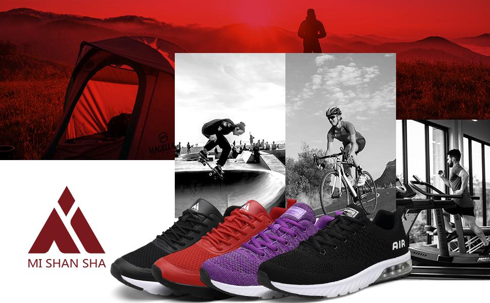 Mishansha Zapatillas de correr para hombre y mujer, amortiguación, antideslizantes, transpirables, ligeras, zapatillas de deporte, talla 36 – 46, color Rojo, talla 42 EU: Amazon.es: Zapatos y complementos