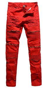 LONGBIDA Men's Ripped Skinny Distressed Destroyed Straight Fit Zipper Motor Jeans with Holes