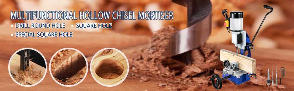 VEVOR Mortaiseuse MS36127A3 Mortaiseuse /à b/édane ronde 220v Mortaiseuse Electrique pour le traitement de mat/ériaux m/étalliques