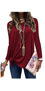 MODARANI Side Tie Knot Shirts for Women Casual Long Sleeve Tunic Tops Solid Color Comfy Blouse