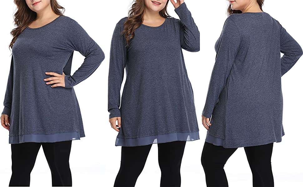 women plus size graceful tunics long loose fit top shirts with pockets and lace trim