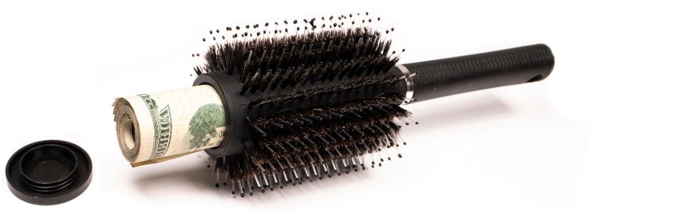 Hair Brush Stash Safe Hidden Valuables Cash Wallet Belt Secret Compartment Hide