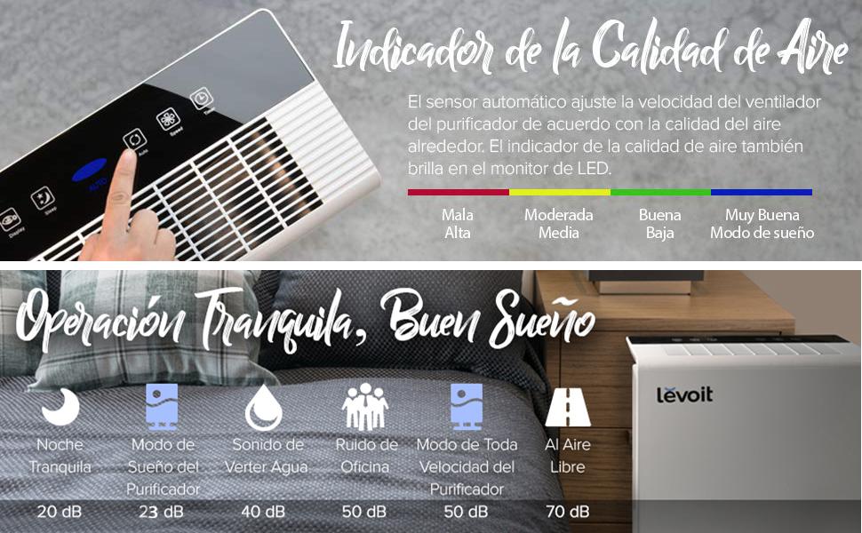 Levoit Purificador de Aire con Filtro HEPA y Carbón Activado, Hasta 55m², 5 Modos y 3 Niveles, Temporizador, Indicador de Calidad de Aire, Captura Alergia, Polvo, Humo, Caspa de Mascotas, LV-PUR131: Amazon.es: