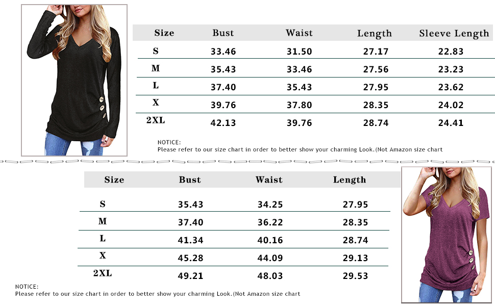 Fall Tunics for Women Long Sleeve Button Down Shirts Soft V Neck