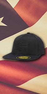 Blackout flag flat bill hat