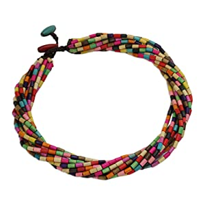 NOVICA Beaded Wood Layered Torsade Necklace, Handmade Jewelry, For Women,Multicolored,Rainbow Theme