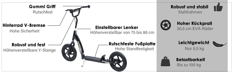 Tretroller Cityroller Kinder Roller Scooter höhenverstellbar
