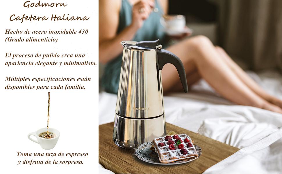 Godmorn Cafetera Italiana, Cafetera espressos en Acero inoxidable430, 10tazas(450ml),Conveniente para la Cocina de inducción,Cafetera Moka Clásica, ...