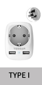TESSAN Adaptador Enchufe Ingles UK Inglaterra Adaptador de Viaje con 2 USB (2.4A), Español 2 Patas Europa hacia 3 Patas Reino Unido RU para Irlanda Escocia Britanico Maldivas(Tipo G) Blanco: Amazon.es: Electrónica