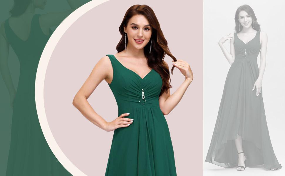 Ever-Pretty Damen Einfaches Brautkleider V-Ausschnitt Empire Chiffon High Low Staubiges Lange Hochzeitskleider f/ür Braut Wei/ß 9983EH