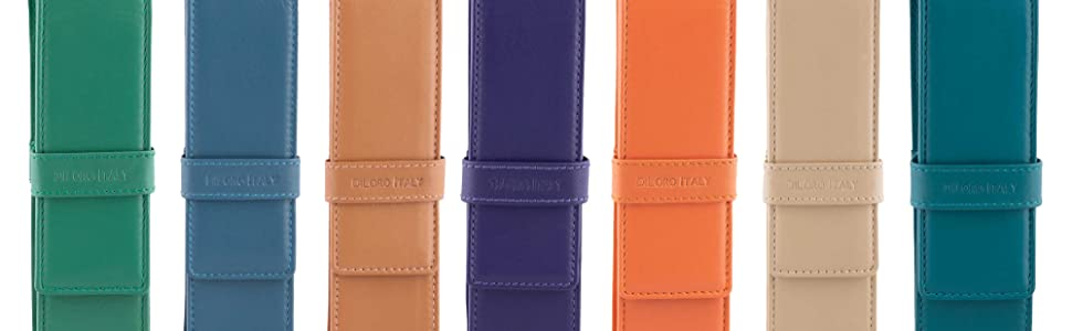 New colors DiLoro Leather Double Pen Pencil Case Holders - Designed in Switzerland
