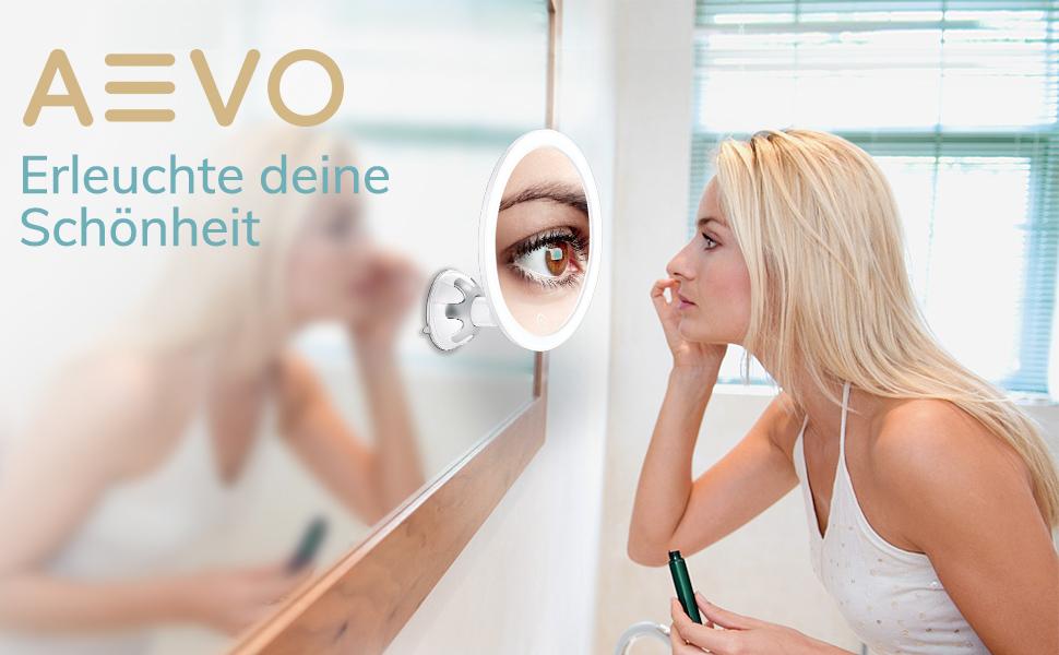10-Fach vergrößernder beleuchteter Make-Up Spiegel,10x Kosmetikspiegel, 30-LED Kosmetikspiegel