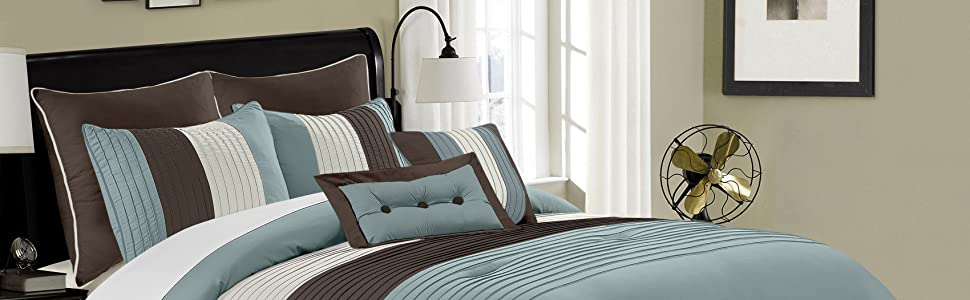 Loft 8-Piece Comforter Set, Blue/Brown/Beige