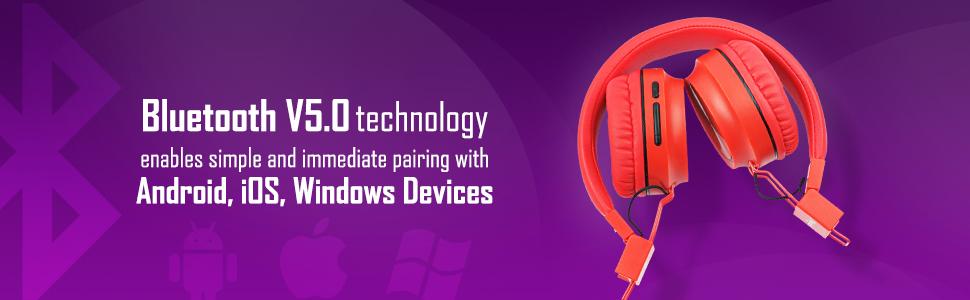 Macjack Bluetooth Wireless Headphones Explosive Bass & 4D Sound Inbuilt Mic TF Card & Aux Input(Red)