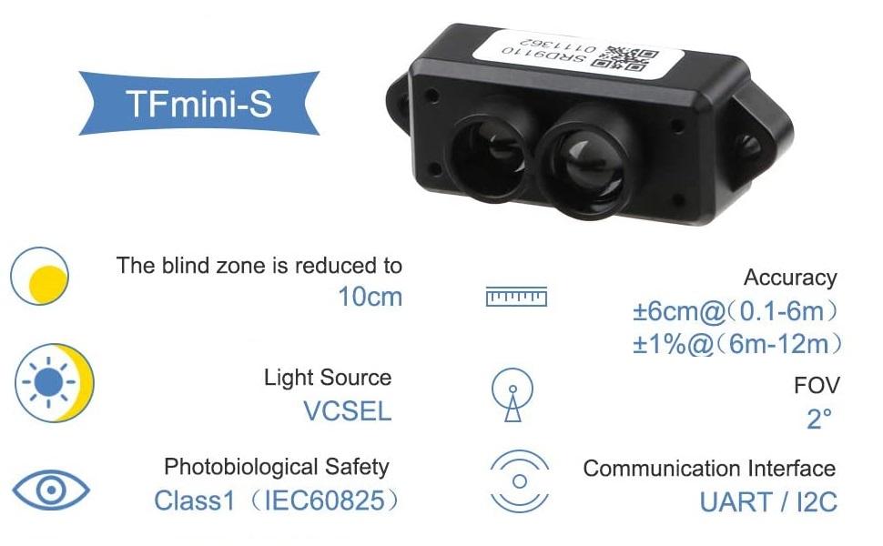 TFmini-S Lidar Sensor Single-Point Ranging Module