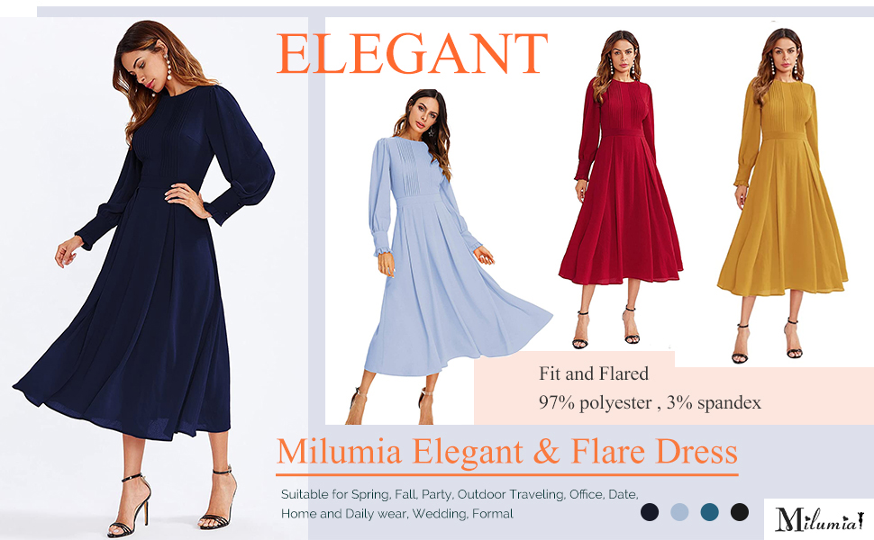 Milumia Women's Elegant Frilled Long Sleeve Pleated Fit and Flare Dress