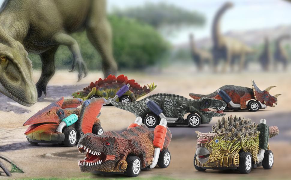 dinosaur pull back cars