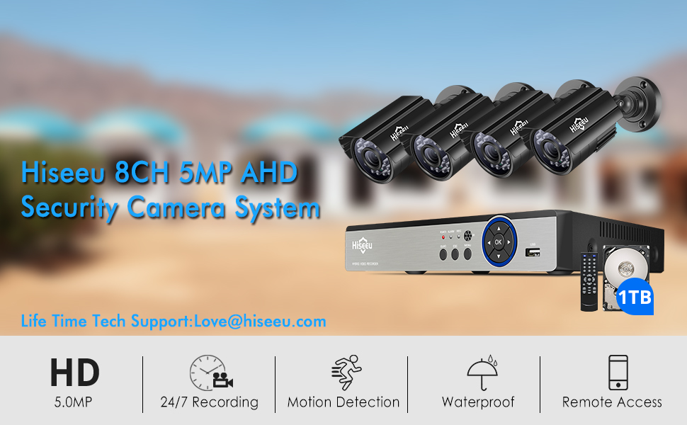 5MP security camera system  【5MP 8Channel】Hiseeu Security Camera System,H.265+ 8CH DVR + 4Pcs AHD Cameras,Global Phone&PC Remote,Human Detect Alarm,98Ft Night Vision,IP66 Waterproof,24/7 Recording,Easy Setup,Plug & Play,1TB HDD 14326792 ee08 4990 aae2 3d6ec6352262