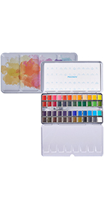 Watercolor Paint Palette 48-Color with Water Brush Pen in White Tin Exterior