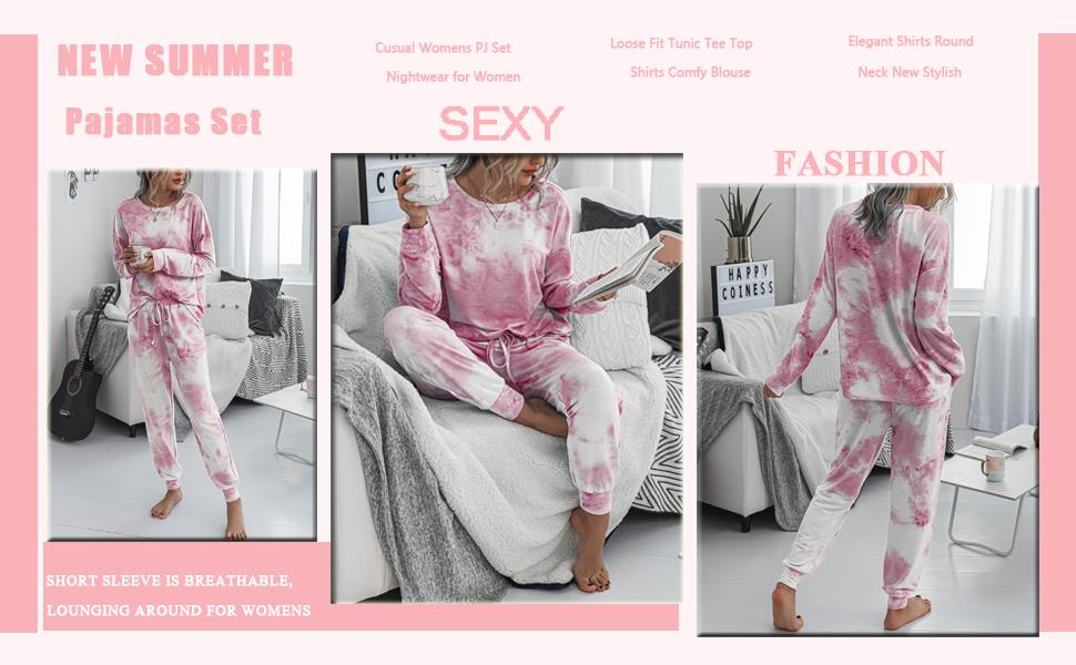 nightwear long pj set  Womens Pajama set Joggers PJ Sets