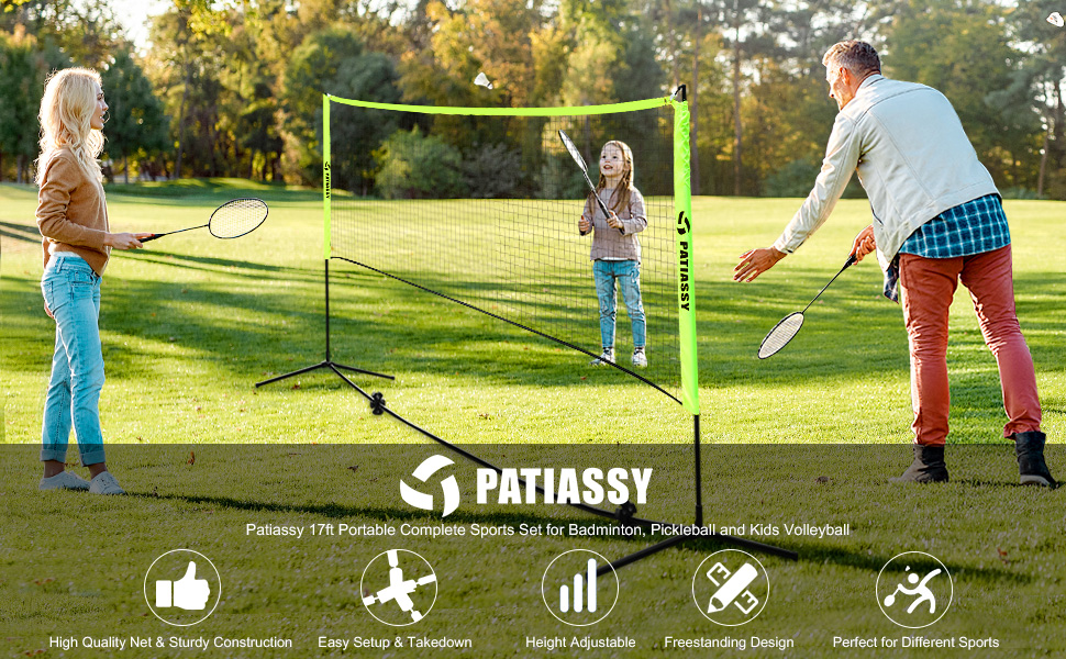 Patiassy 17ft Portable Complete Sports Set for Badminton, Pickleball and Kids Volleyball
