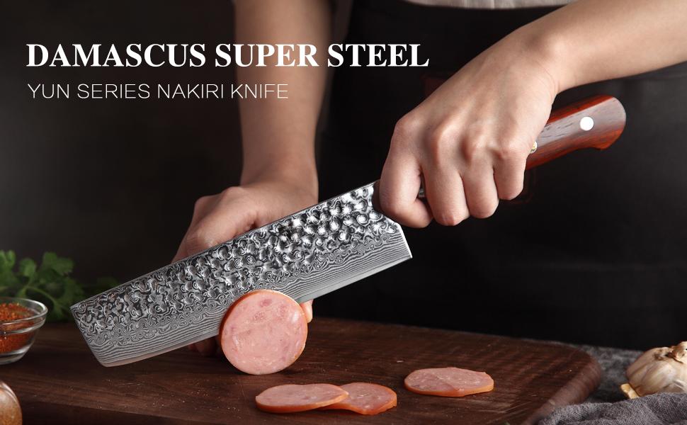 DAMASCUS SUPER STEEL Yun SERIES Nakiri Knife