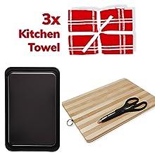 Baking tray Kitchen Towels Cutting Board Scissor Tea Towel
