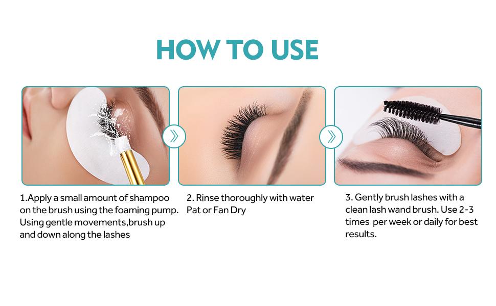 Eyelash extension shampoo stacy lash+brush