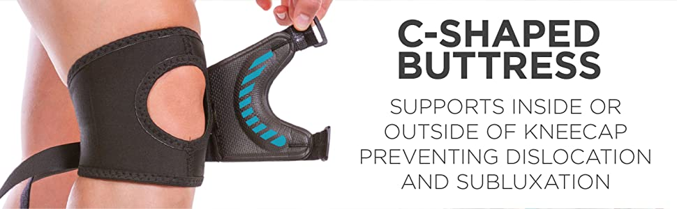 c-shaped buttress supports inside or outside of kneecap preventing dislocation and subluxation