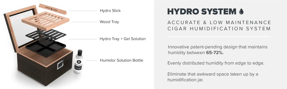 Hydro System tray wood tray stick humidor solution box cedar wood digital hydrometer hygrometer
