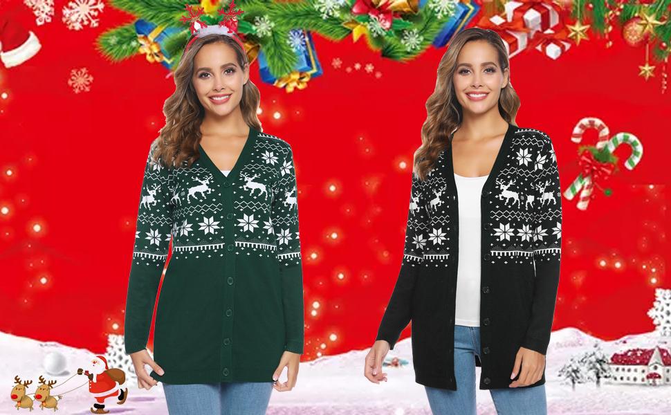 iClosam Damen Strickjacke Weihnachten Grobstrick mit Rei/ßverschluss Und Stehkragen.