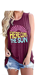 Sunshine Graphic Tank Tops for Women Sunshine Graphic Tees for Women Graphic Tees for Women