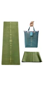 Reisyogamat, opvouwbaar, licht, per yogamat, groen, asana, yogamat, riem voor yogamat.