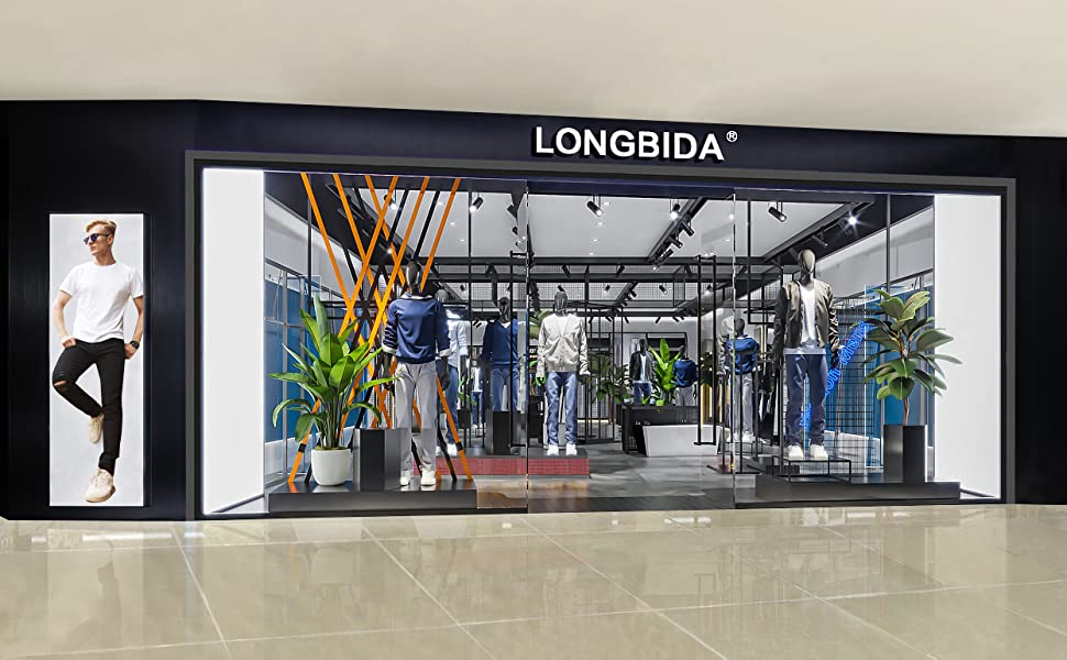 LONGBIDA Men's Skinny Jeans Slim Fit Stretch Ripped Denim Pants Tapered Leg