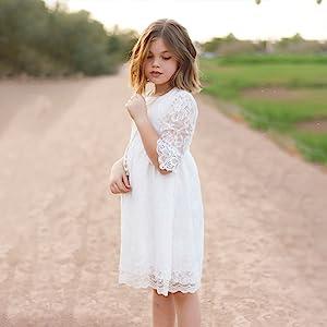 girl white lace dress
