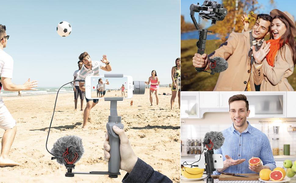 BOYA BY-MM1 Shotgun Video Microphone, Universal Compact On-Camera Mini Recording Mic