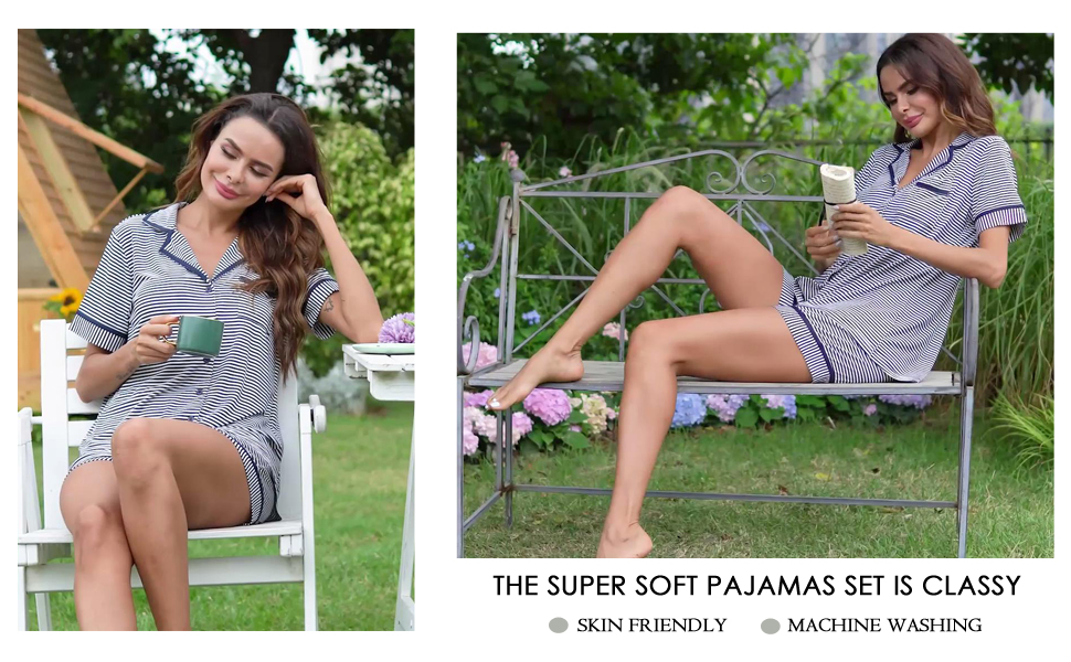 Ekouaer Pajamas Set Short Sleeve Sleepwear Womens Button Down Nightwear Soft Pj Lounge Sets