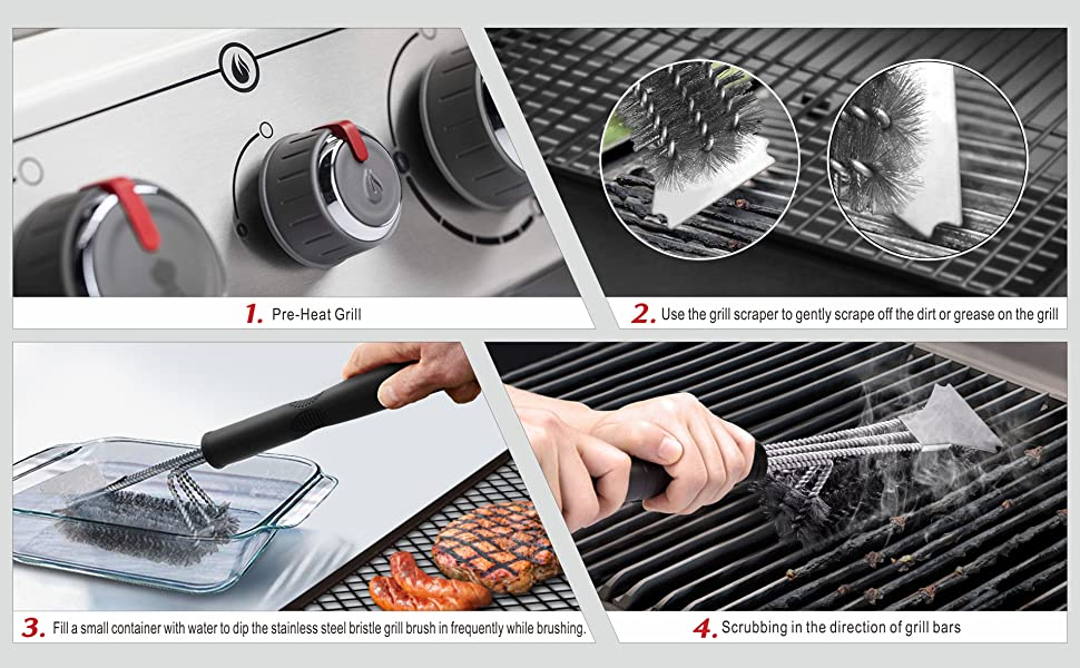 Following the instructions below will HELP IMPROVE THE LIFE OF YOUR BARBECUE GRILL CLEANER.